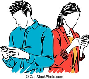 cellphones, mann- abbildung, paar, frau, vektor