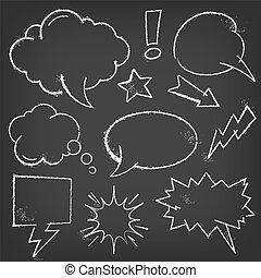 Chalk Comic Blasen und Elemente auf einer Tafel.