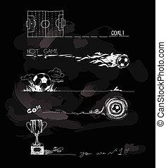 Chalk Illustration von Fußballspielelementen.