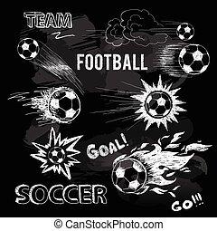 Chalk Sketch von Fußballball und Elementen