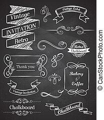 Chalkboard Hand zeichnete klassische Vektorelemente