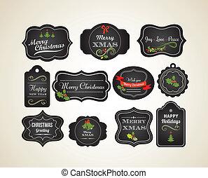 Chalkboard Weihnachts-Einladung und Etiketten