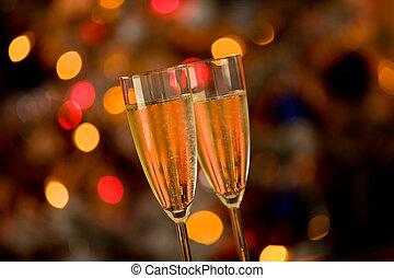 Champagner auf Glastisch mit Bobo Hintergrund
