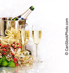 Champagner. Silvester. Feiern
