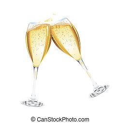 champagner, zwei, brille