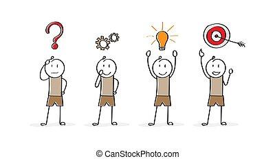 character., solving., problem, einführung, start, karikatur, geschaeftswelt, stadien