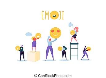 Charaktere mit verschiedenen Emoticons. Emoji und lächelt Kommunikation Konzept mit Mann und Frau. Vector Illustration