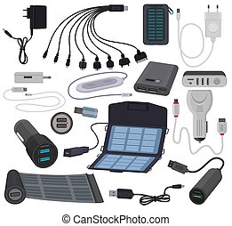 Charger Vektor-Mobilkabel-Kabelladetechnik für Smartphone-Anzeigen von USB-Geräten-Adapter und digitale Telefon-Geräte isoliert auf weißem Hintergrund.