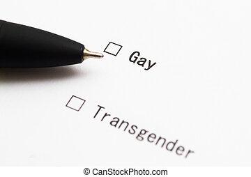 checkbox, paper., stift, antwort, gay., test., blatt, weißes