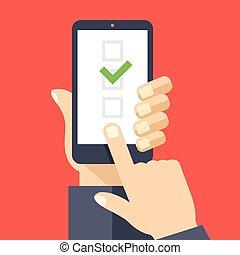 Checkboxen auf Smartphone-Bildschirm