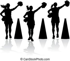 Cheerleader mit Megaphonen.