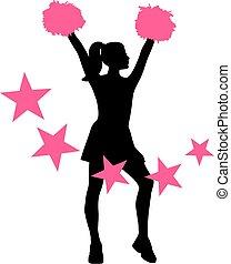 Cheerleader mit rosa Sternen.