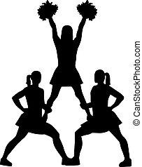 Cheerleading Pyramiden-Silhouette.