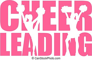 Cheerleading word with cutout.