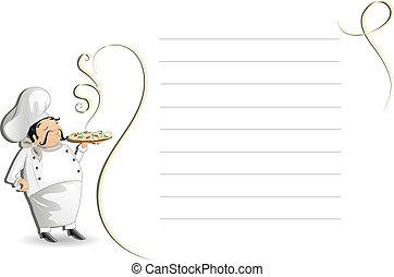 Chef mit Notizblock,menu