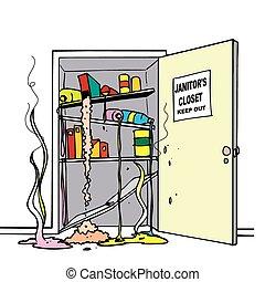Chemie verschüttet den Schrank