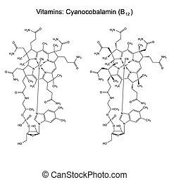 Chemische Formel von Vitamin B12.