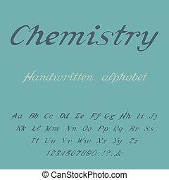 chemistry., alphabet., handgeschrieben