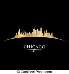 Chicago Illinois City Skyline Silhouette schwarzen Hintergrund