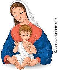 child., abbildung, mary, baby, vektor, weißes, karikatur, gesegnet, hintergrund, freigestellt, madonna, jungfrau, jesus