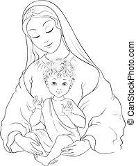 child., mary, baby, vektor, karikatur, gesegnet, seite, madonna, jungfrau, jesus, färbung