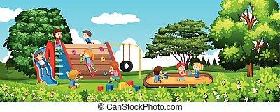 Childre spielt in einem Park.