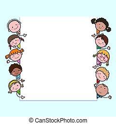 children., leer, kinder, hand-drawn, karikatur, kopie, schauen, reizend, hintergrund, space., zeichen