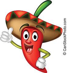 Chili Pepper Cartoon Daumen hoch