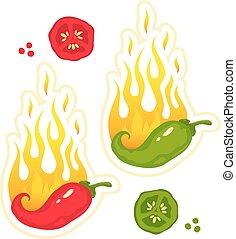 Chili-Pfeffer in Feuer.