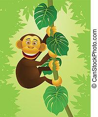 Chimpanzee Cartoon im Dschungel