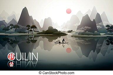 China guilin travel poster.