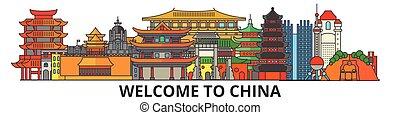 China skizziert Skyline, chinesische flache dünne Linie Icons, Wahrzeichen, Illustrationen. China Cityscape, chinesisches Vektorreisen Stadtbanner. Urban Silhouette