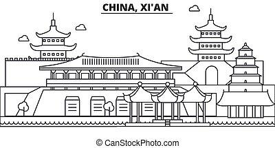China, Xian Architektur Zeile Skyline Illustration. Lineares Vektorstadtbild mit berühmten Sehenswürdigkeiten, Sehenswürdigkeiten der Stadt, Design Ikonen. Bearbeitende Striche