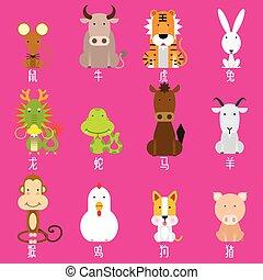 Chinesische Zodiac-Ikone eingestellt.