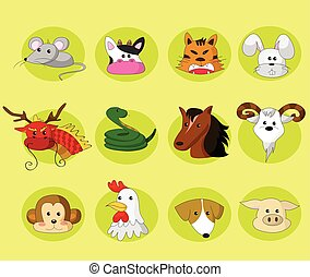 Chinesische Zodiac-Set.