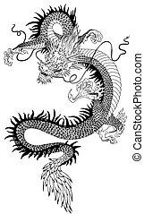 Chinesischer Drachen schwarzweiß