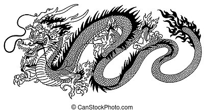 Chinesischer Drachen schwarzweiß.