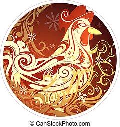 Chinesisches neues Jahr 2017 Hahnenhoroskop Symbol.