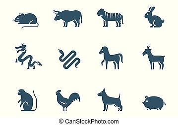 Chinesisches Zodiac-Vektor-Icon gesetzt.