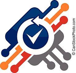 Chip überprüft Logo Design Vorlage Vektor.