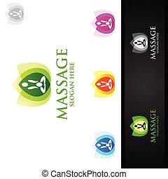 chiropraktik, massage, logo, zurück, osteopathie, schmerz, design