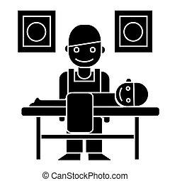 chiropraktiker, abbildung, masseur, -, freigestellt, zeichen, vektor, schwarzer hintergrund, ikone
