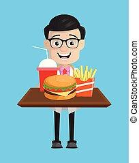 chirurg, schnell, -, präsentieren, essen