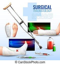 chirurgisch, begriff, traumatology