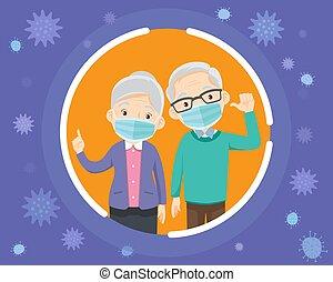 chirurgisch, mask., tragen, großeltern