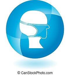 Chirurgische Maske durchsichtiges blaues Icon.