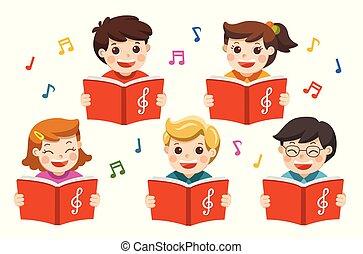 Chormädchen und Jungs singen ein Lied.