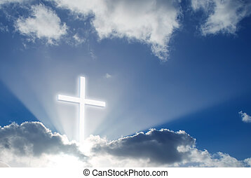 Christian überquert den schönen sonnigen Himmel.