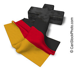 Christian Cross and flag of germany - 3d rendering.