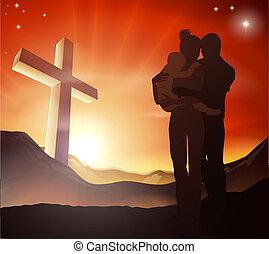 Christian Cross Familie Gruppe.